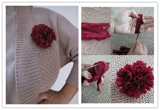 How to make simple DIY flowers with recycled yarns step by step tutorial instructions