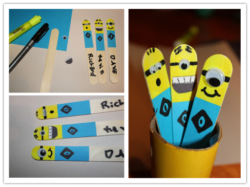 How to make simple DIY popsicle stick minions step by step tutorial instructions