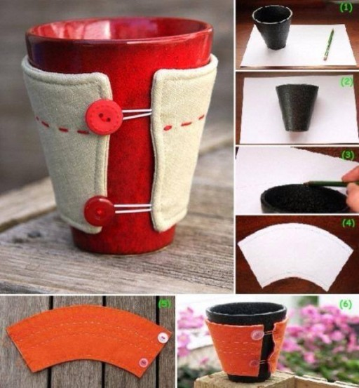 How to make simple custom-sized DIY mug cosy step by step tutorial instructions