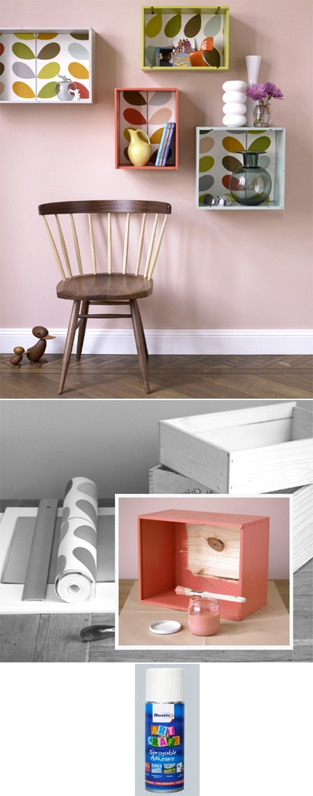 How to make simple storage box shelves from recyclec crates step by step DIY tutorial instructions
