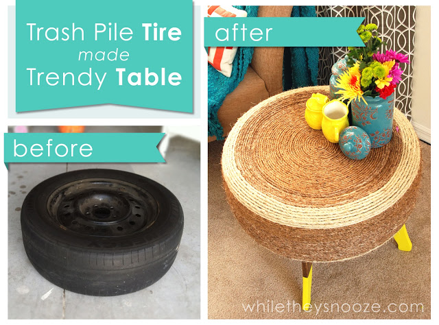 How to make trendy DIY tire table step by step tutorial instructions
