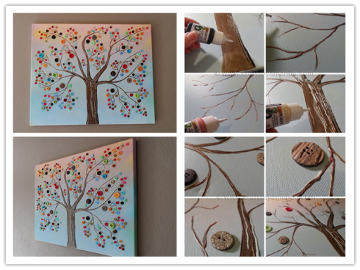 Diy button tree canvas wall art tutorial how to instructions Home decor craft step by step