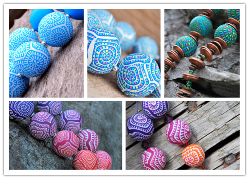 How to make wonderful polymer beads with spiral patterns step by step DIY tutorial instructions