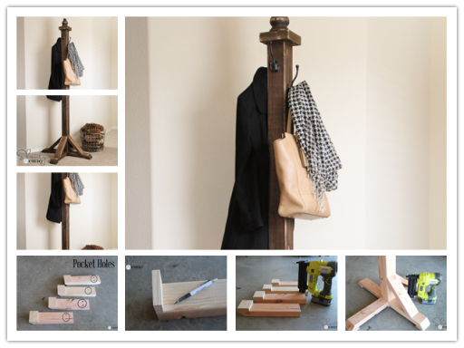 How to make your own DIY coat rack step by step tutorial instructions