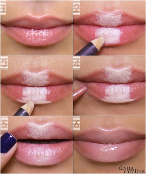 How to makeup fuller lips without surgery step by step DIY tutorial instructions