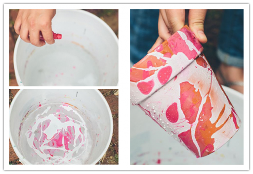 How to paint splashed pots with nail vanish step by step DIY tutorial instructions
