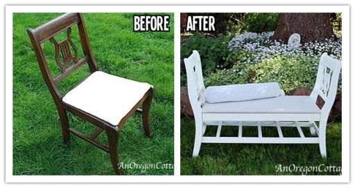 How to re-invent broken chairs into a French-style bench step by step DIY tutorial instructions