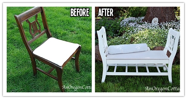 to re invent broken chairs into a french style bench step by step diy