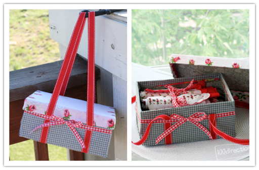 How to re-purpose a shoe box into a picnic basket step by step DIY tutorial instructions
