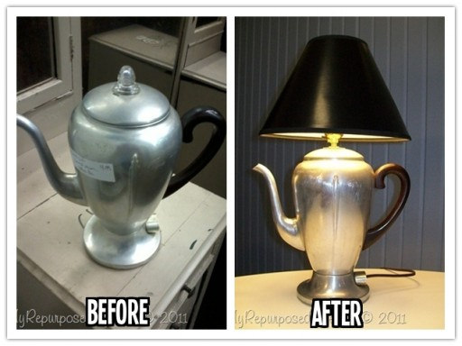 How to re-purpose a vintage coffee pot into a cool DIY desk lamp step by step tutorial instructions