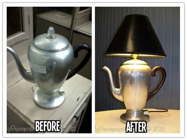 How to re purpose a vintage coffee pot into a cool diy for Cool diy lamps
