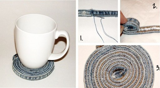 How to re-purpose old jeans into a coaster step by step DIY tutorial instructions