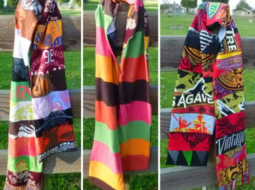 How to re-purpose t-shirts into scarves step by step DIY tutorial instructions