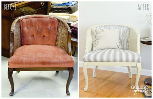 How to re-surface a tufted can chair step by step DIY tutorial instructions
