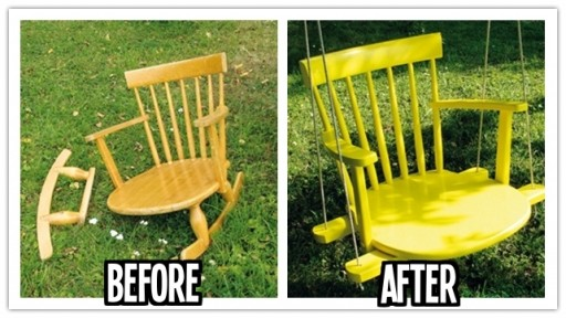 How to reinvent a broken rocking chair into a kids swing step by step DIY tutorial instructions