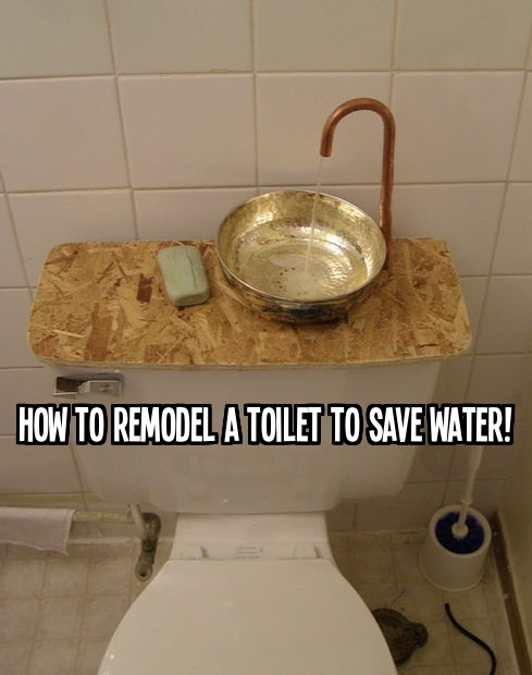 How to remodel a toilet to save water by adding a sink step by step DIY tutorial instructions