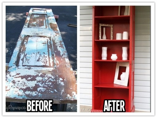 How to repurpose an old door into a DIY bookshelf step by step tutorial instructions 512x384 9 creative ways to make DIY storage shelves