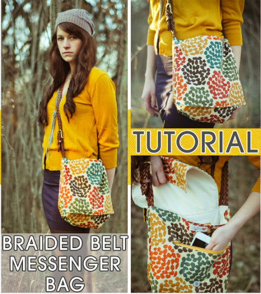 How to sew cute DIY braided belt messenger tote bag step by step tutorial instructions