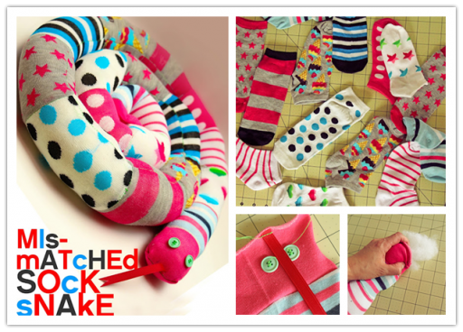 How to sew cute DIY snakes with mismatched socks step by step tutorial instructions