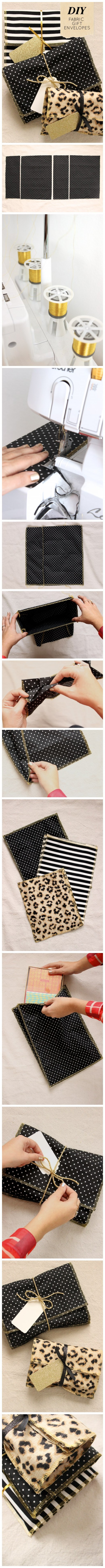 How to sew fabulous DIY fabric gift envelope step by step DIY tutorial instructions