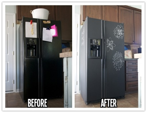 How to transform a refrigerator into a chalkboard step by step DIY tutorial instructions