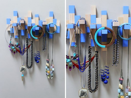 How to turn an old Jenga set into a jewelry rack step by step DIY tutorial instructions