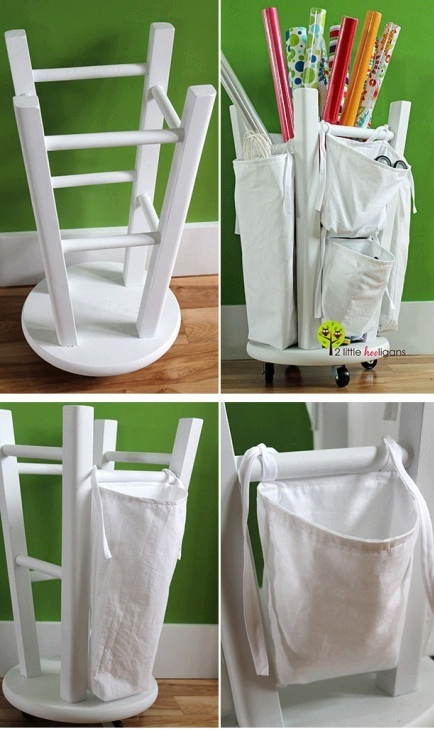 How to turn an old kitchen stool into a DIY wrapping paper storage organizer step by step tutorial instructions
