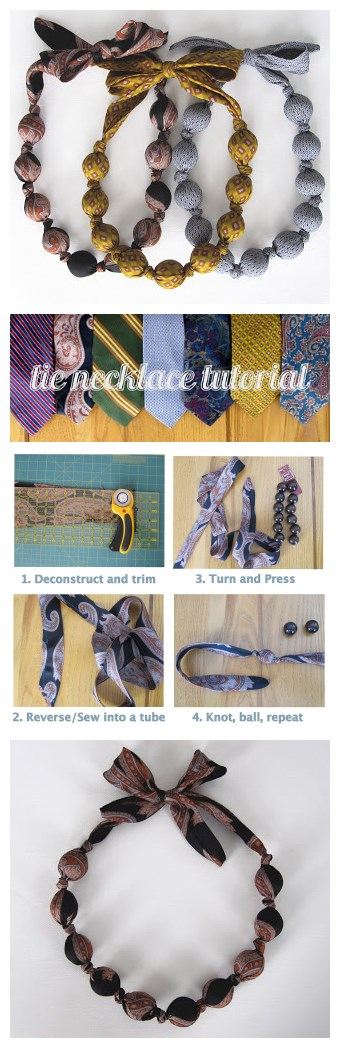 How to upcycle used neck ties into stylish necklace step by step DIY tutorial instructions