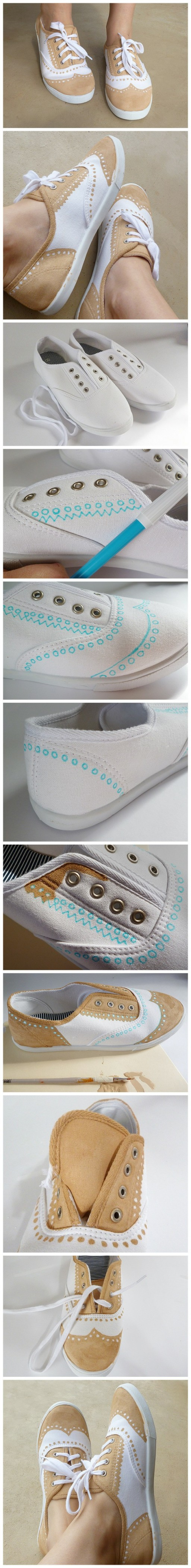 Shoe makeover - how to turn a pair of tennis shoes into beautiful faux painted Oxfords step by step DIY tutorial instructions