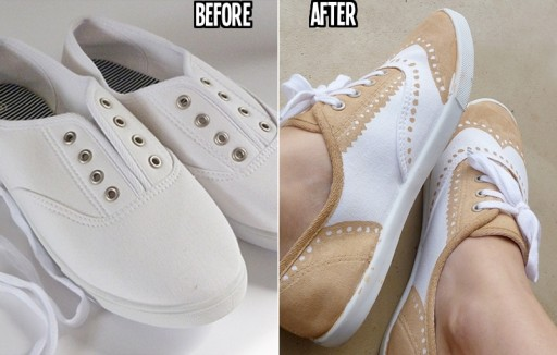 Shoe makeover - how to turn a pair of tennis shoes into beautiful faux painted Oxfords step by step DIY tutorial instructions thumb