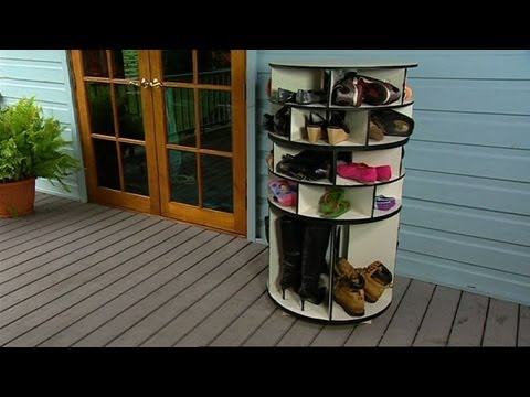 How To Make Cool DIY Lazy Suzan Turntable Rotating Shoe Storage Rack Step  By Step Tutorial Instructions