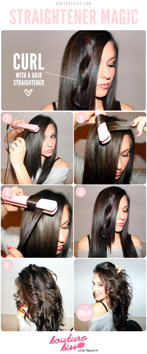how to curl your hair with a straightener step by step DIY tutorial ...