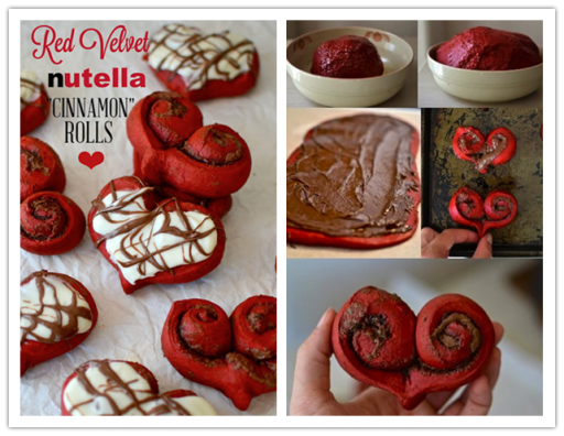 Cooking class - How to cook DIY red velvet nutella cinnamon roll hearts step by step tutorial instructions and recipe