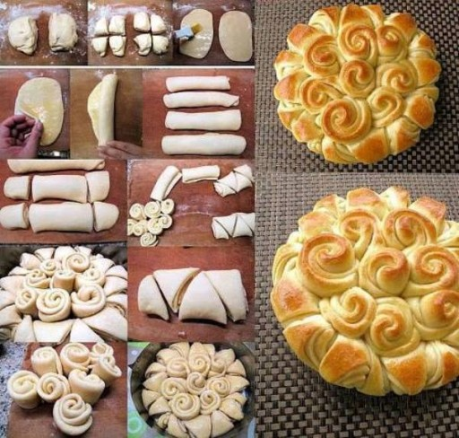 Culinary school - how to make cute DIY flower wreath happy bread step by step DIY tutorial instructions and recipe