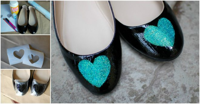 How To Do Beautiful Glittering Heart Shoe Makeover