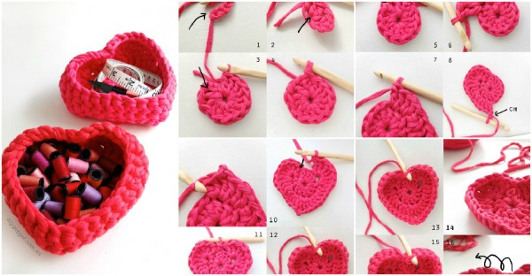 How to crochet DIY heart shaped storage baskets step by step tutorial instructions 2