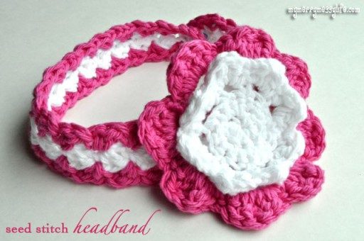 How to crochet seed stitch baby headband step by step DIY tutorial instructions with free pattern