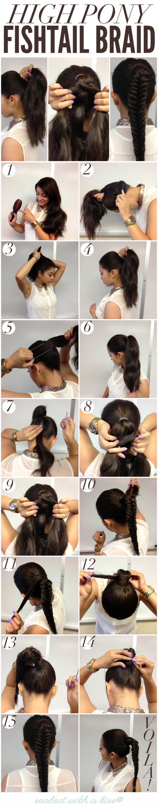 How to do DIY high pony fish tail braid hairstyle step by step tutorial instructions