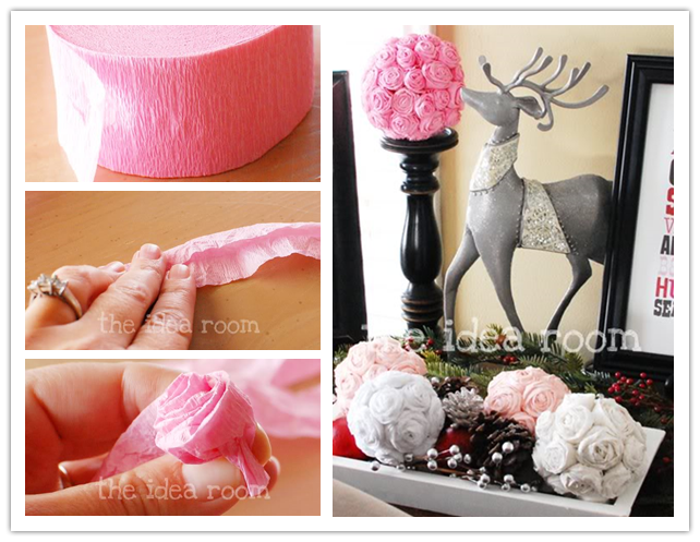 How to make DIY crepe paper rosette kissing balls step by ...