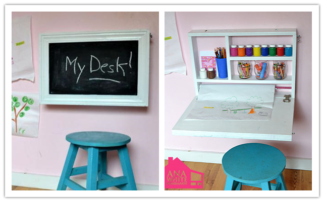 How to make diy flip down wall art desk step by step diy for Fold up craft table