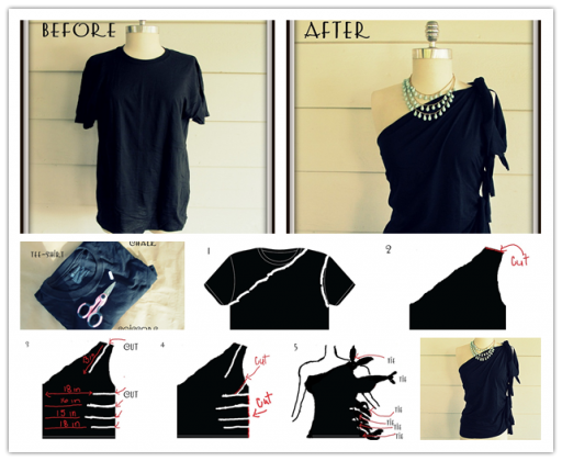 How to make a DIY no sew one shoulder shirt from a Men's shirt step by step tutorial instructions