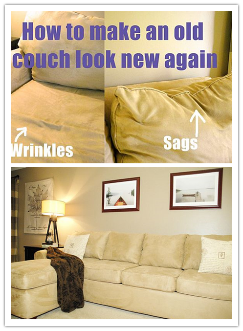 How to make an old couch look like new again step by step DIY tutorial instructions