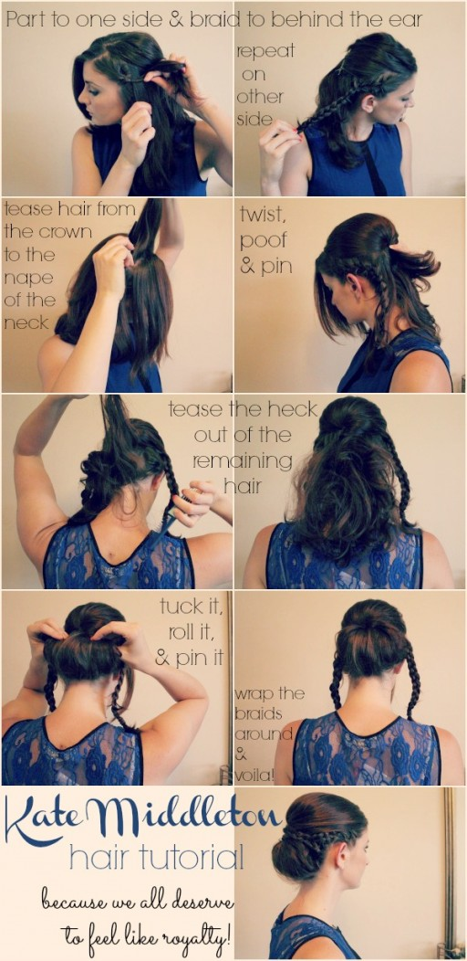 How to make beautiful DIY Kate Middleton princess hairstyle step by step tutorial instructions