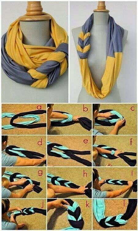 How to make beautiful DIY braided scarves step by step tutorial instructions 2