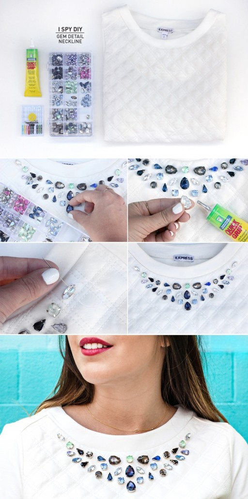 How to make beautiful DIY gem detail neckline step by step tutorial instructions