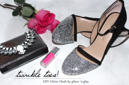 How to make beautiful DIY glitter cap toe pump twinkle shoes step by step tutorial instructions