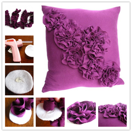 How to make beautiful DIY rosette pillow step by step tutorial instructions