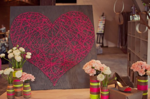 How to make cute DIY string heart art decoration step by step tutorial instructions