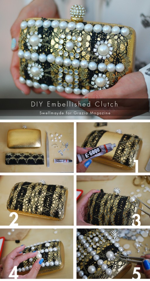 How to make pretty DIY baroque embellished clutch step by step tutorial instructions