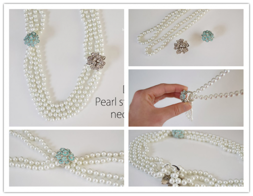 How to make pretty DIY pearl statement necklace step by step tutorial instructions